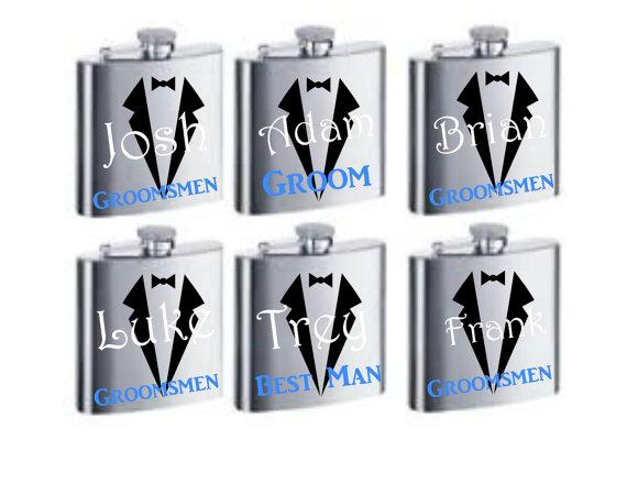 Свадьба - Groomsman Flask, Personalized Groomsmen Gifts, Personalized Groomsman Gift, Custom Wedding Party Flask, Personalized Flask, Wedding Gifts