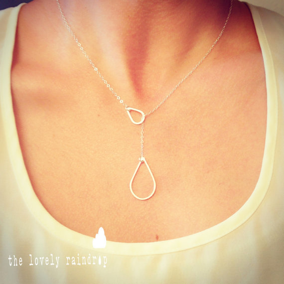 Свадьба - NEW Sterling Silver Raindrop/Teardrop Lariat Necklace - Sterling Silver Jewelry - Gift For - Wedding Jewelry - Gift For - Rain Lariat