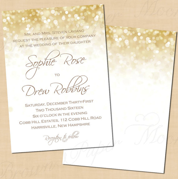 Wedding - White Gold Sparkles Editable Vertical Wedding Invitations: 5 x 7 - Instant Download