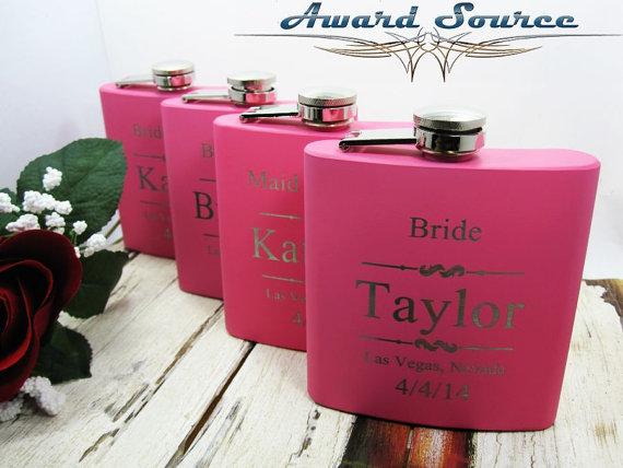 Wedding - Pink Bridesmaid Flask ~With Free Engraving~