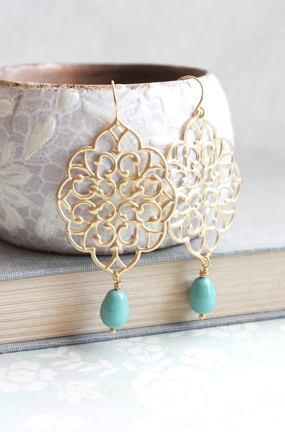 9364b24f5674 Gold Filigree Earrings Big Dangle Large Chandelier Turquoise Pearl Drop  Earrings Teal Bridal Jewelry Bridesmaids Gift Gold Lace Earrings