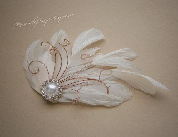 زفاف - Ivory, Feather, Bridal, small, Fascinator, weddings, Feathered, Hair, Clip, Wedding, Accessories, pink - IVORY & PINK PEARL