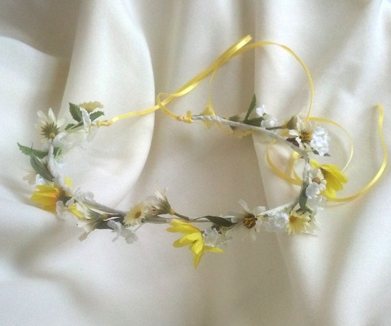Mariage - Yellow Bridal Floral Girl Halo Crown Woodland crown hair Wreath Wedding Hair accessories Spring Daisy Hairpiece blessingway Hippie headband
