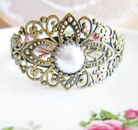 Mariage - Vintage Style Pearl Bracelet Filigree Bracelet Bridal Wedding Shabby Chic Bridesmaids Bracelet Victorian Spanish Influenced Pearl Jewelry