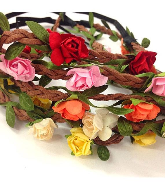 زفاف - Grab bag : Set of 12 mix color Mini flower crown headband /halo/Coachella /EDC /hippie flower headband /garden party / wedding / party favor
