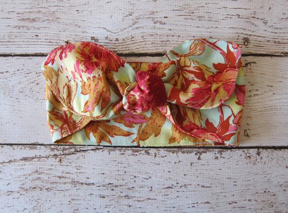 زفاف - hair scarf - retro - bandana - RAYON - headband - wrap - bow tie on - rockabilly - amy butler - spring - summer - flowers