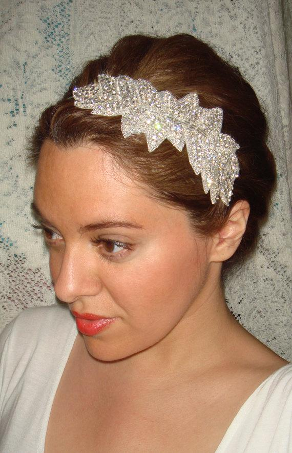 زفاف - Ivy Bridal Headband, Rhinestone Headband, Wedding Headband,  Bridal Headpiece, Headband, Bridal Accessories, Hair, Silver