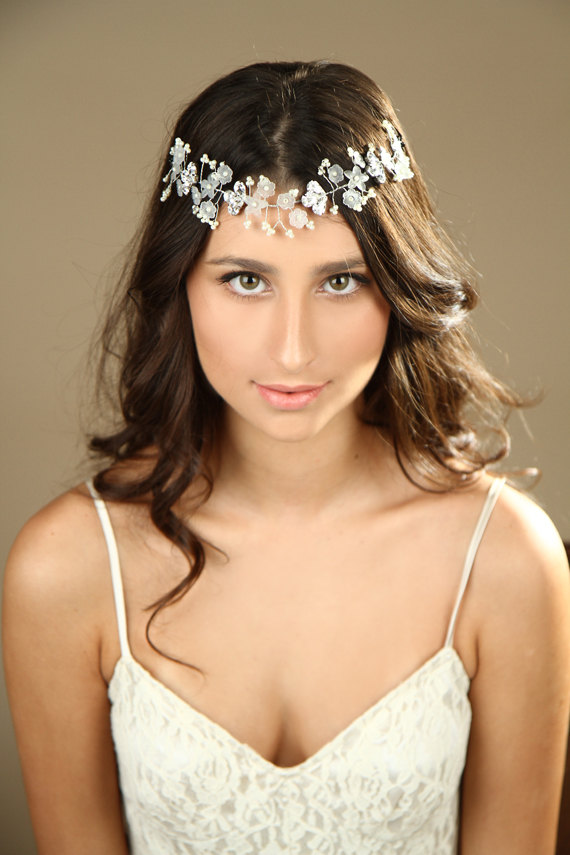 زفاف - Floral Bridal hair vine, Wedding hair accessories, sparkle Crystal hair vine,  Bridal halo  Headband, bridal crown, Tiaras