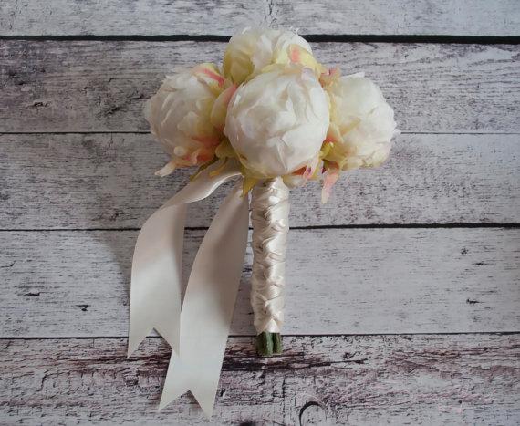 Mariage - Ivory Peony Wedding Bouquet - Peony Bud Bouquet
