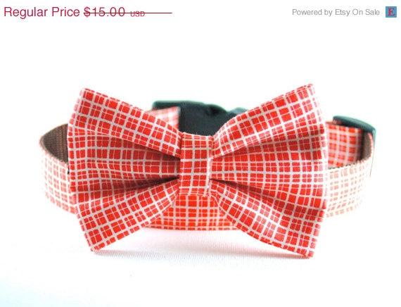 Свадьба - ON SALE Orange Pet Bow Tie - Detachable Cat and Dog Orange and White Plaid Checkered Gingham Bow Tie