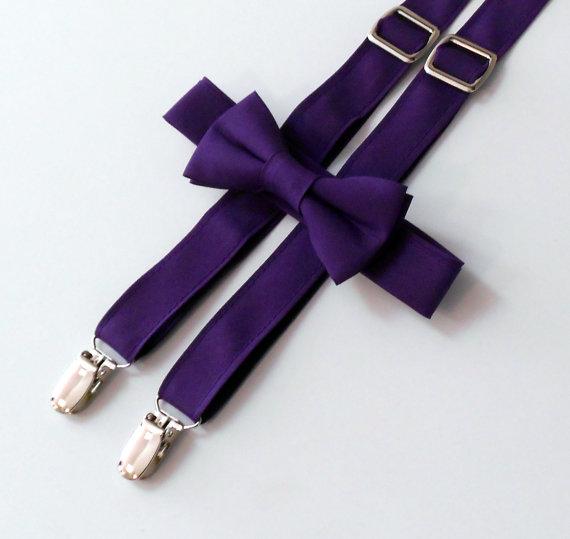 زفاف - Purple Bowtie and Suspender Set - Infant, Toddler, Boy