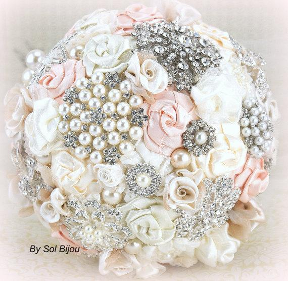Wedding - Brooch Bouquet Pearl Bouquet Bridal Bouquet in Blush, Cream and Ivory with Pearls Fabric and Brooch Bouquet
