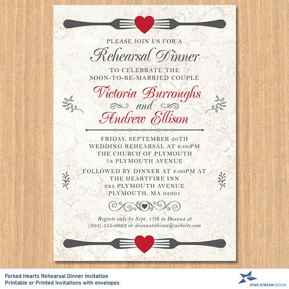 Wedding - Forked Hearts Rehearsal Dinner Invitation; Printable or Printed (US Only) Invitations