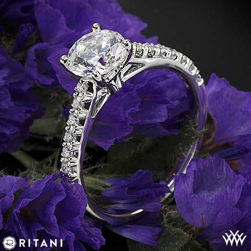 Mariage - 18k White Gold Ritani 1RZ2489 French-Set Diamond Band Engagement Ring