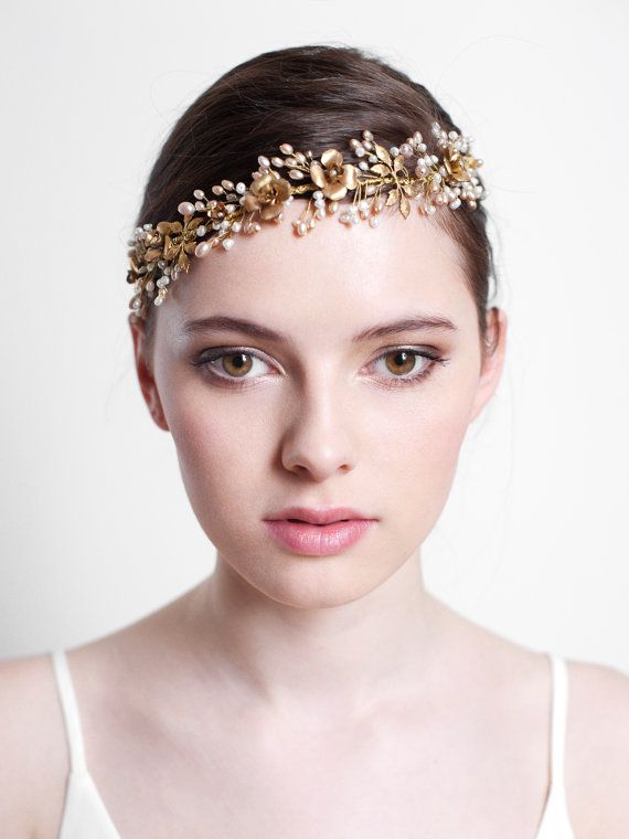 Hochzeit - Bridal Beaded Headband - Dainty Beaded Fern Leaf Hair Vine ,Flower Halo, Bridal Beaded Headband, Bridal Accessories