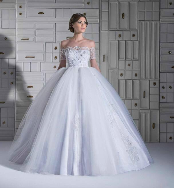 2015 Winter Beads Applique Tulle White Wedding Dresses Sheer Lace Ball Gown Bridal With Off The Shoulder Chapel Train Zipper Back Online