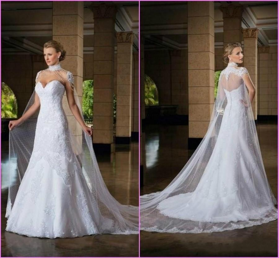 Exquisite 2017 Sweetheart Beaded Wedding Dresses Winter Liques Cathedral Bridal Gown Lace A Line High Collar Ball With Wrap Online