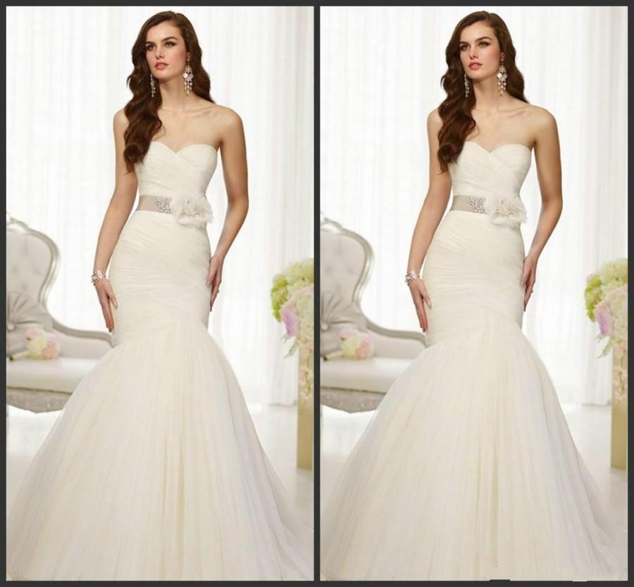 2015 New Arrival Beaded Wedding Dresses White Mermaid Sweetheart Zipper Flowers Sash Pleated