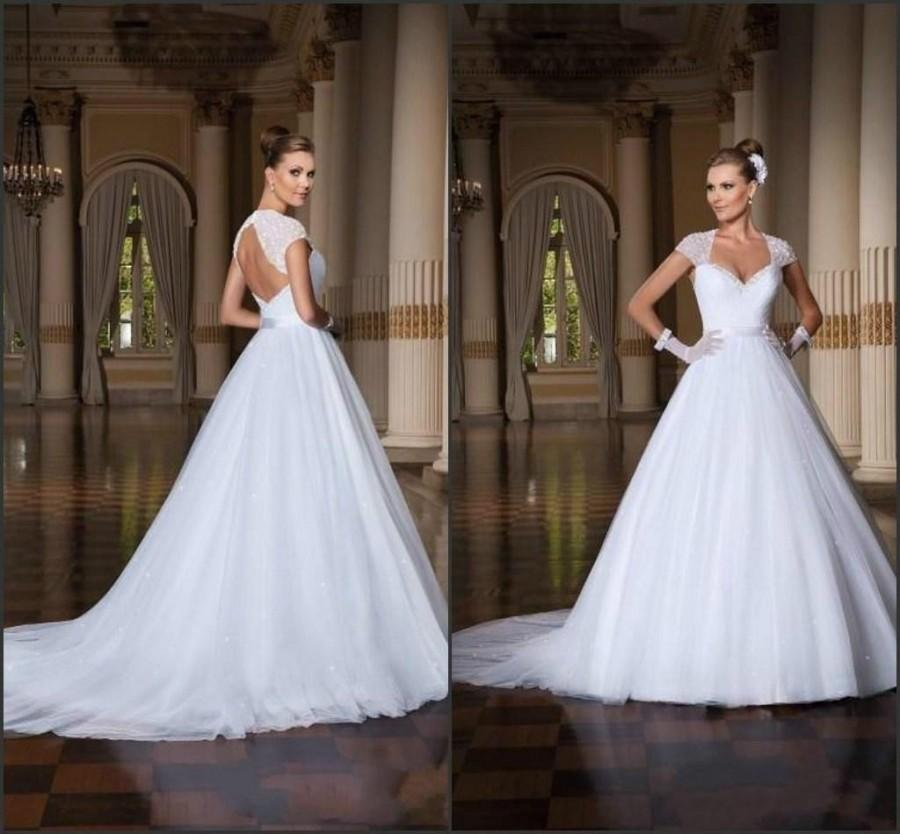 2015 new arrival wedding dresses cap sleeves backless for Backless wedding dresses with sleeves