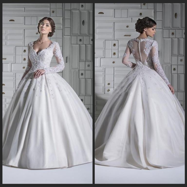 2015 Winter Long Sleeve Wedding Dresses Sheer Illusion Vintage Sweep ...
