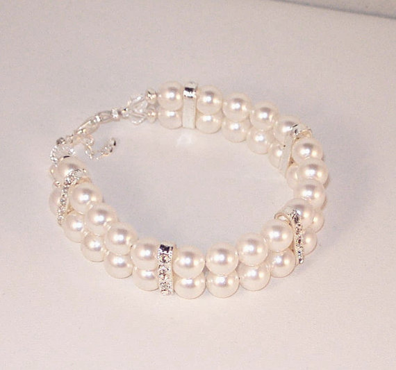 Mariage - Swarovski Pearl Jewelry - Bridal Bracelet - Bride or Bridesmaid - Made to Order in Any Color