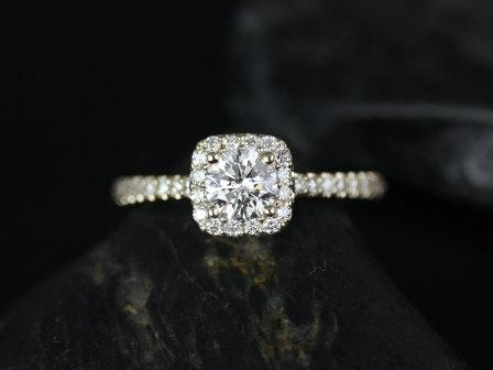 Wedding - Mikena14kt Yellow Gold Cushion Halo Diamond Engagement Ring (Other metals and stone options available)