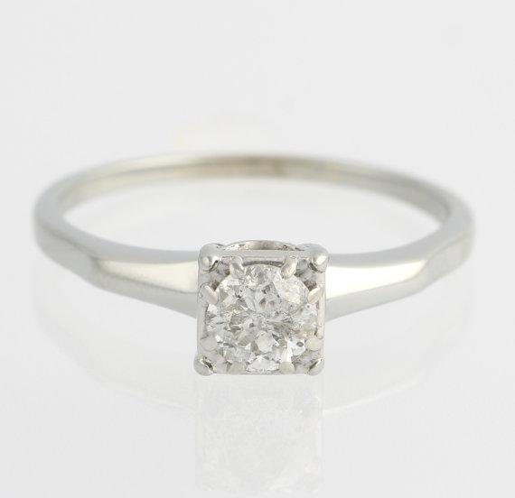زفاف - Diamond Engagement Ring - 18k White Gold High Karat Round Solitaire .47ctw F6436