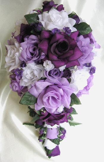 wedding bouquet bridal silk flowers cascade plum purple lavender