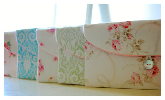 Mariage - Set 3, 4 5, 6, Bridesmaid Gift Set, Bridesmaid Clutch Set, Wedding Party Favor, Shabby Chic
