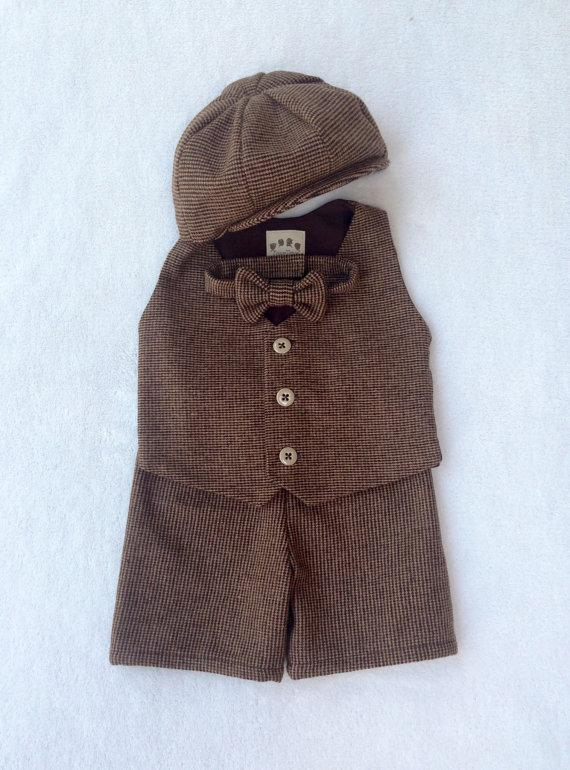 Wedding - Tweed Shorts Suit, Ring bearer outfit, baby suit, tweed, baby ring bearer, brown ring bearer, baby boy photo prop, baby ring bearer outfit
