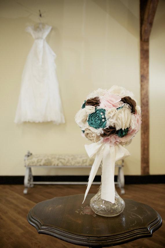 Wedding - Shabby chic fabric and burlap romantic rustic bridal wedding bouquet.