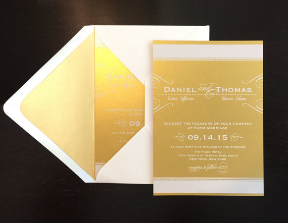 sample gold wedding invitation with white ink wedding invitation gold liner metallic gold white ink custom wedding invitation art deco - White And Gold Wedding Invitations