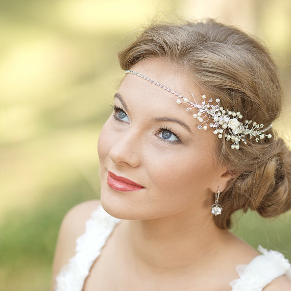 Bohemian Wedding Headpiece Pee Bridal Fascinator Wreath Halo Greek Grecian Headband Hair Accessories Hairpiece Ivory Champagne