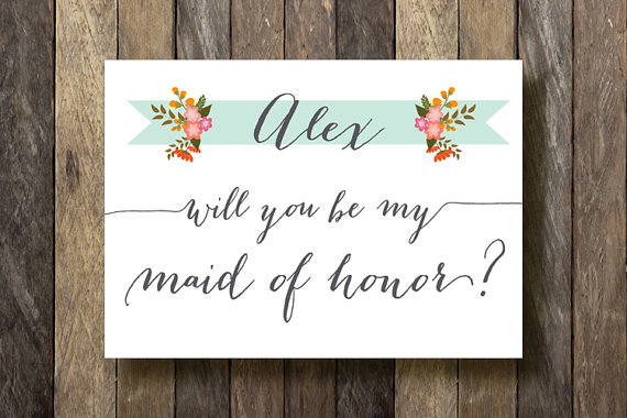 personalized bridesmaid card will you be my maid of honor