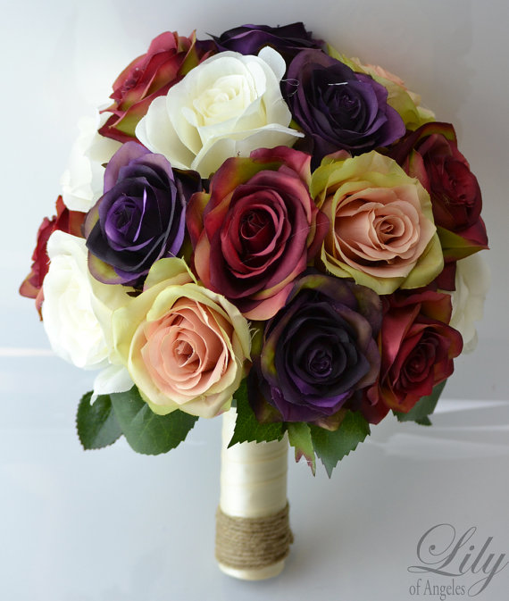 """Mariage - 17 Piece Package Wedding Bridal Bride Maid Of Honor Bridesmaid Bouquet Boutonniere Corsage Silk Flower PURPLE BURGUNDY """"Lily of Angeles"""""""