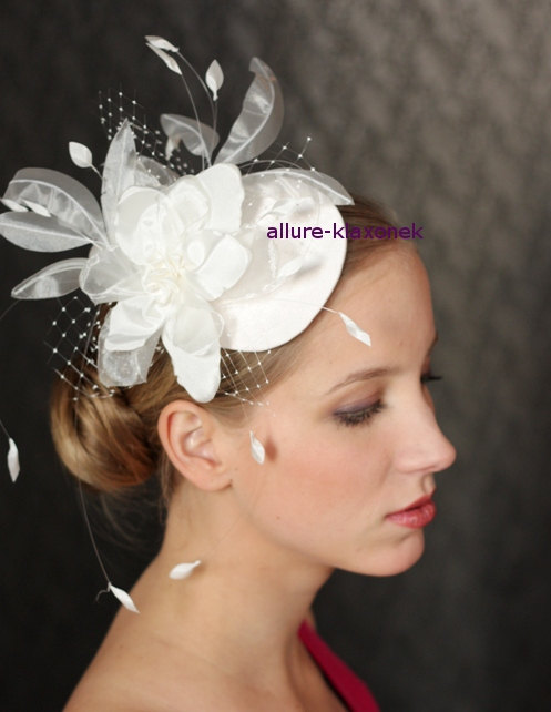 Fabulous BIRDCAGE VEIL Wedding Hat Bridal Fascinator Headpiece With Amazing Flower