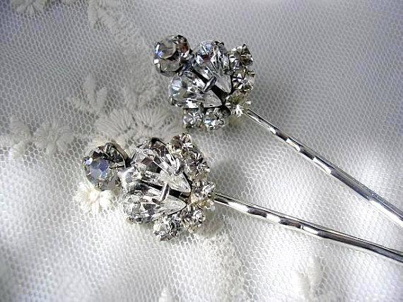 Wedding - Wedding Hair Jewelry - Bridal Hair pins - Bridal Hair piece, wedding hair ACCESSORIES, Swarovski Rhinestones, set of 2