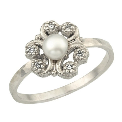زفاف - 18k Gold Antique Inspired Flower Pearl Engagement Ring