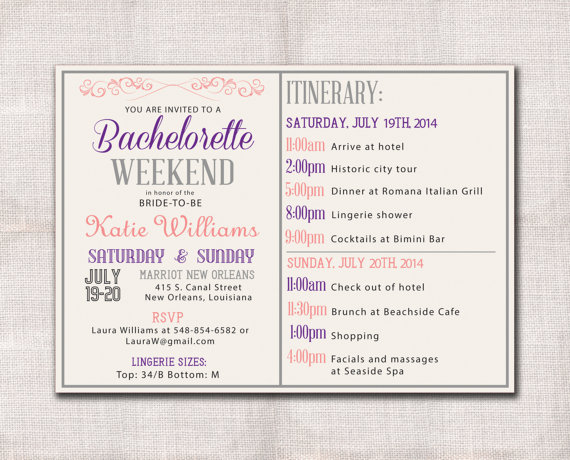 Mariage - Bachelorette Party Weekend invitation and itinerary custom printable 5x7