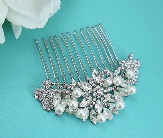 Wedding - Pearl Bridal Comb, Rhinestone Comb, Bridal Comb Crystal, Wedding Hair Comb, Hair Comb, Wedding Accessory, Bridal Headpiece, Bridal Comb
