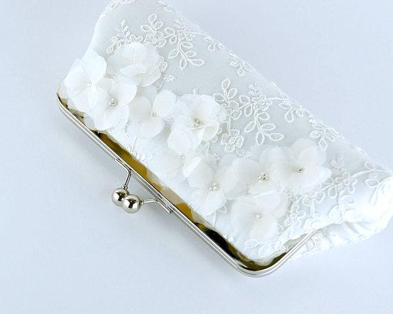 Mariage - Cherry Blossom  Silk Clutch in WHITE or IVORY,  wedding clutch, wedding bag, Bridal clutch