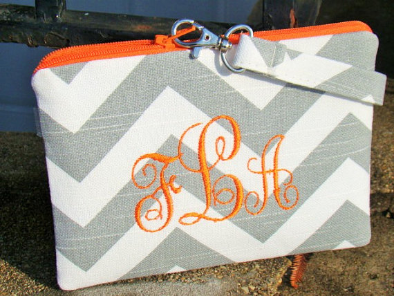 Mariage - Chevron Monogrammed Clutch, Bridal clutches, Bridesmaid gift, Wedding gift, Bridesmaid clutch, Personalized gift, Flower Girl gift, Vintage