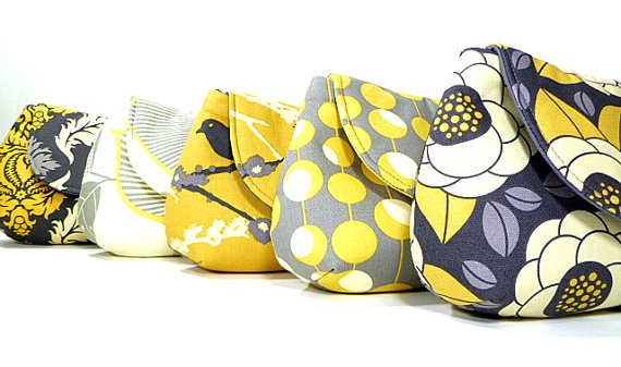 Mariage - Bridesmaid Clutches Wedding Clutch Bridesmaids Purses Choose Your Fabric Gray Yellow Set of 5