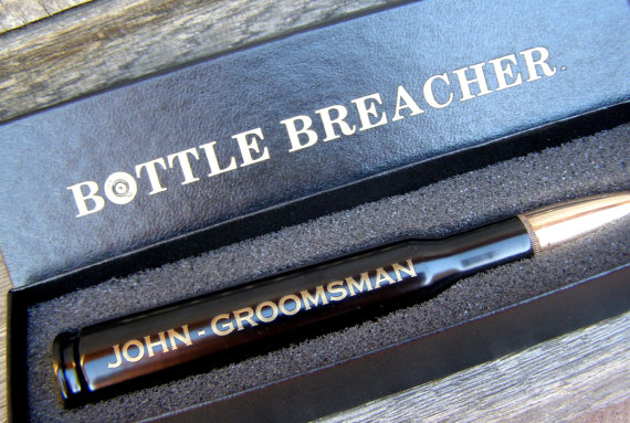 Свадьба - Groomsmen Gift. Engraved 50 Caliber Bottle Opener with Bottle Breacher Gift Box. Groom Gift. Father of the Bride Gift. Groomsman Gift