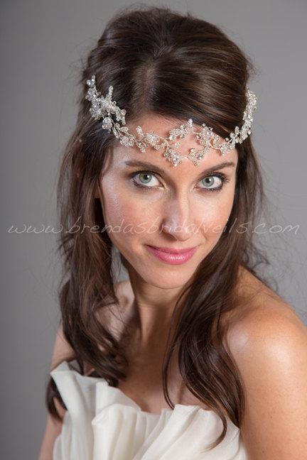 Wedding - Bridal Headband, Crystal Bohemian Halo, Rhinestone Bohemian Head Piece, Crystal Crown, Wedding Hair Accessory - Silvia