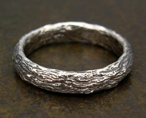 Mariage - Silver Wedding Band with Tree Bark Texture - Womens or Mens Wedding Ring - Matching Wedding Ring Set - Engagement Ring - Commitment Ring