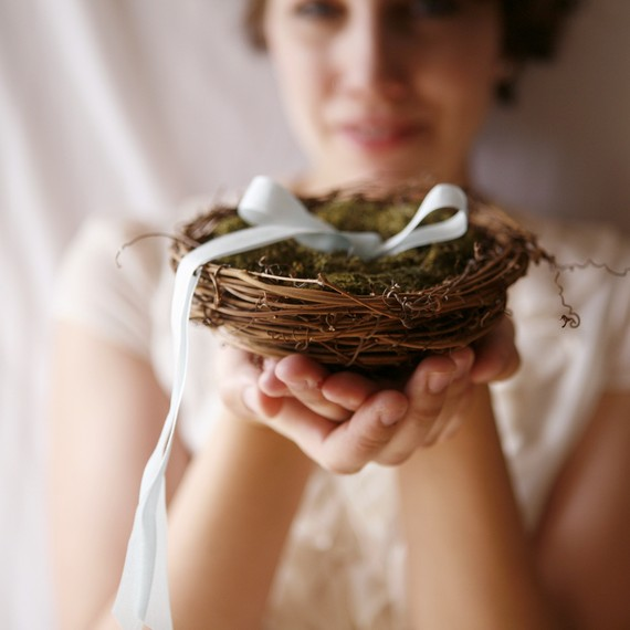 Wedding - twig nest and moss ring bearer pillow, woodland wedding decor - LOVE NEST