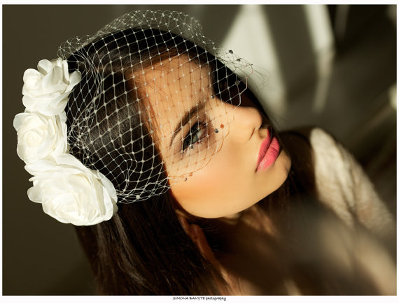 Mariage - Crystal birdcage veil, Bridal bandeau veil with crystals, Bridal birdcage veil, Wedding birdcage veil, Only vei, Bandeau style veil