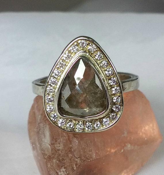 زفاف - Natural large rose cut diamond Halo ring, engagement ring, solid white gold, and diamond halo ring, wedding ring, cocktail ring