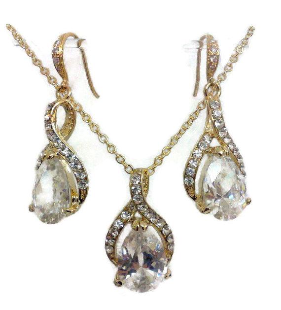 Mariage - Gold Bridal Jewelry Set, Infinity Earrings, Cubic Zirconia Teardrop Necklace, Swarovski Crystal Jewelry, TWIRL